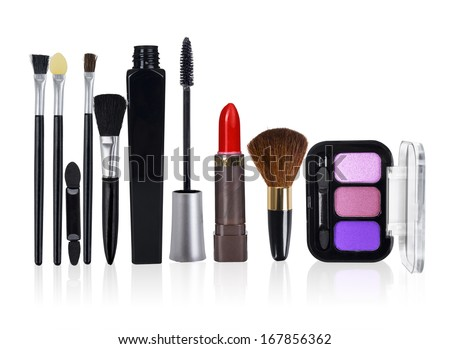 Close up view of make up objects on white back