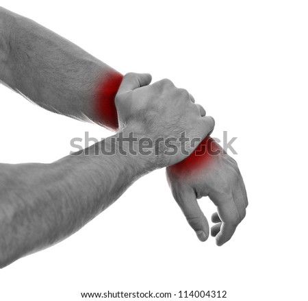 Close up view of male hands with wrist pain. - stock photo