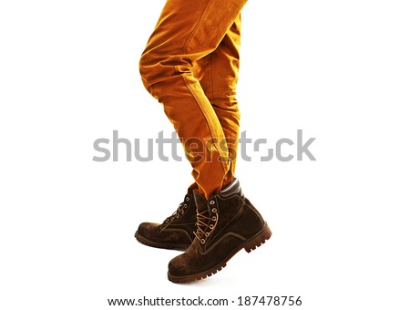 Close-up view of man's leather shoes. Isolated on a white background  - stock photo