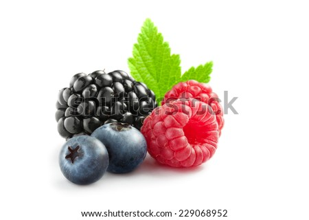 close up view of nice fresh berries on white  background - stock photo