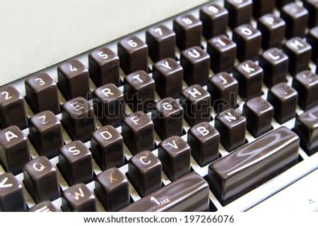 Close up view of old typewriter. - stock photo