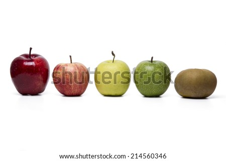 Close up view of several apples of different cultivars,  isolated on a white background. - stock photo