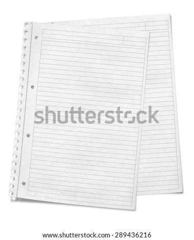 Close up view of  sheets of lined paper lying on each other isolated on white background - stock photo
