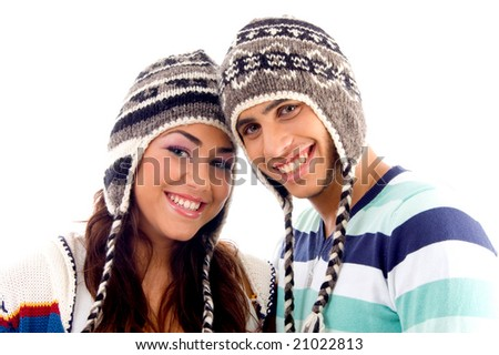 close up view of teens friends smiling and looking at camera against white background - stock photo