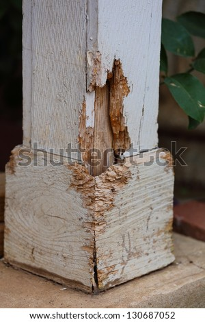 Close up view of termite damage on a outside pillar of a house