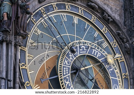 Close up view of the astronomical clock of Prague, Czech Republic.