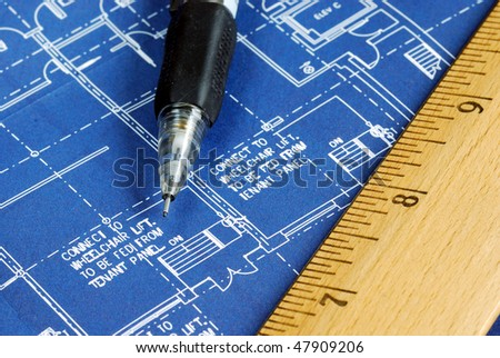 Close up view of the blue print - stock photo