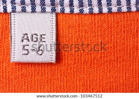 Close up view of the clothing label for children - stock photo
