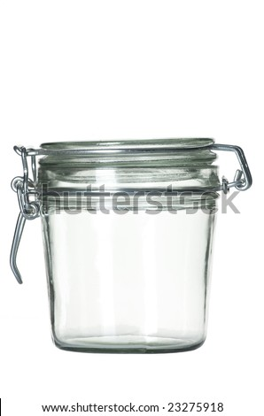 Close up view of the empty retro jar - stock photo