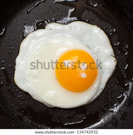 Close up view of the fried eggs on on a pan - stock photo