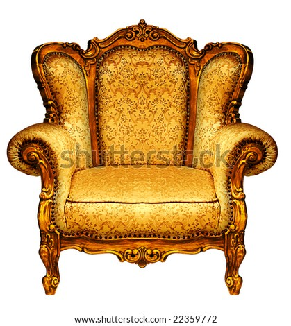Close up view of the old elbow-chair - stock photo
