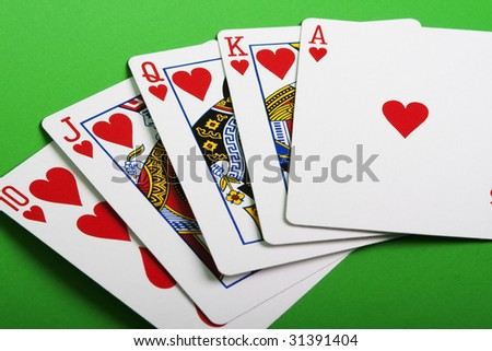 Close-up view of the poker cards - stock photo