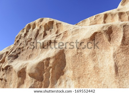 Close-up view of the Rock in Joshua Tree National Park, ideal for Climbing and Bouldering - stock photo