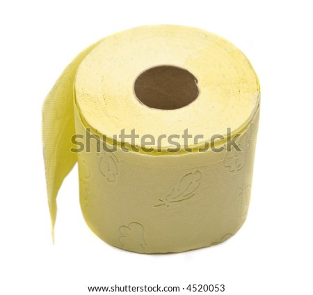 Close up view of the yellow toilet rolls - stock photo