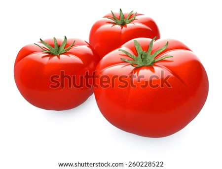 close up view of three red tomatoes (3d render) - stock photo