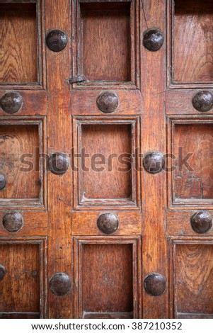 Close-up view of traditional old door in Stonetown, Zanzibar