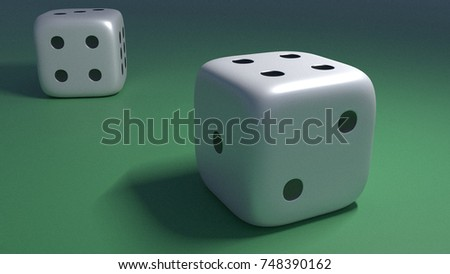 Close up view of two dices on a green table in casino. 3d generated.