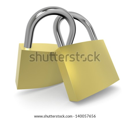 close up view of two padlocks (3d render)