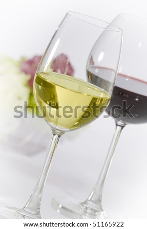 Close up view of two wine glasses filled with wine
