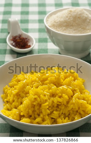 Close-up view of typical homemade Italian Milanese Risotto - stock photo