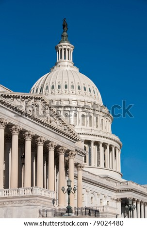 Close up view of US Capitol Building, Washington DC, taken from southeast in early fall morning light. Detail of Capitol Dome and chamber.