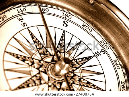 close-up view of vintage compass