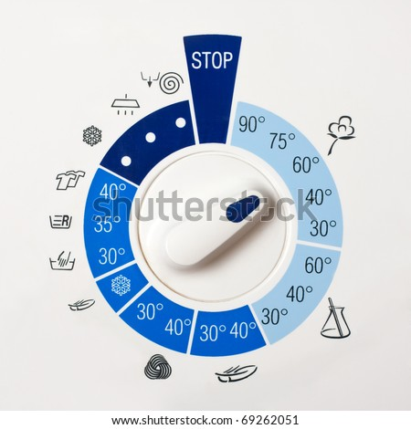 Close-up view of washing machine control panel - stock photo