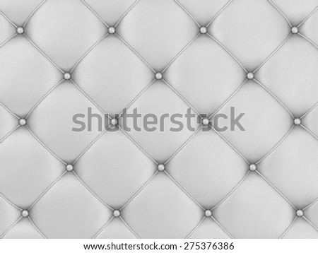 Close-up View of White Leather Upholstery Background - stock photo