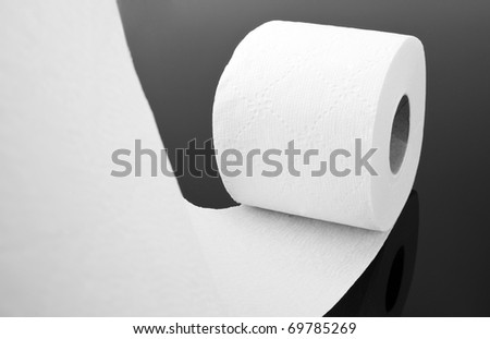 Close-up view of white toilet paper roll - stock photo