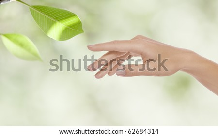 close up view of woman�s hand  on color background - stock photo