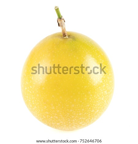 Close-up view of yellow passion fruit isolated on white background.