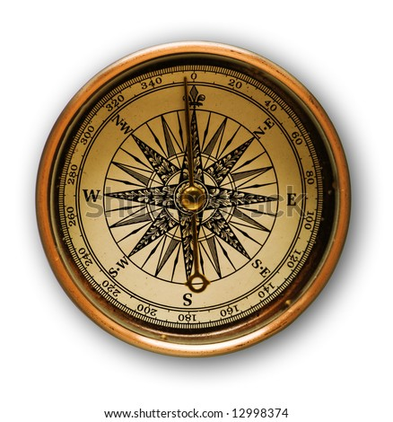 Close up view oft the old compass with soft shadow - stock photo