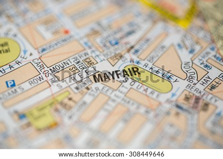 Close-up view on a road map of London, UK. - stock photo