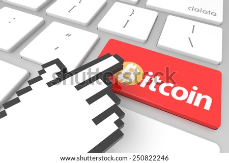 Close up view on conceptual bitcoin computer key with hand cursor. 3D rendering - stock photo