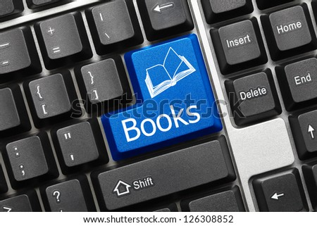 Close up view on conceptual keyboard - Books (blue key)