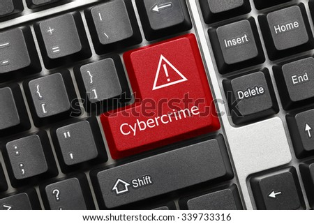 Close-up view on conceptual keyboard - Cybercrime (red key) - stock photo