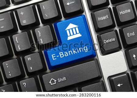 Close-up view on conceptual keyboard - E-Banking (blue key) - stock photo