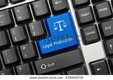 Close-up view on conceptual keyboard - Legal Protection (blue key) - stock photo
