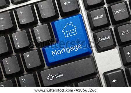 Close-up view on conceptual keyboard - Mortgage (blue key) - stock photo