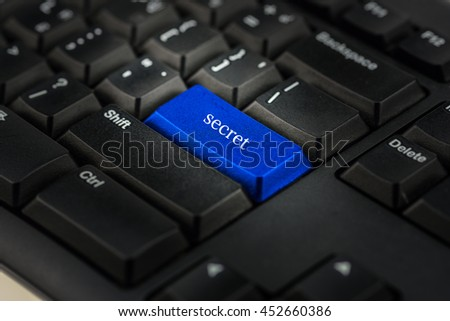 Close-up view on conceptual keyboard - secret      (blue key)