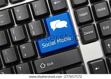 Close-up view on conceptual keyboard - Social Media (blue key) - stock photo