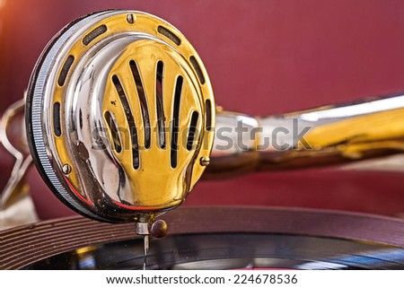close up view on speaker of gramophone - stock photo