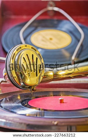 close up view on speaker of vintage gramophone - stock photo