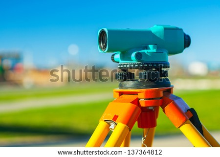 close up view on theodolit - stock photo