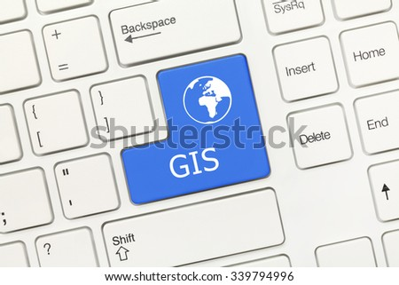Close-up view on white conceptual keyboard - GIS (blue key) - stock photo