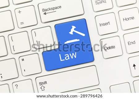 Close-up view on white conceptual keyboard - Law (blue key with gavel symbol) - stock photo