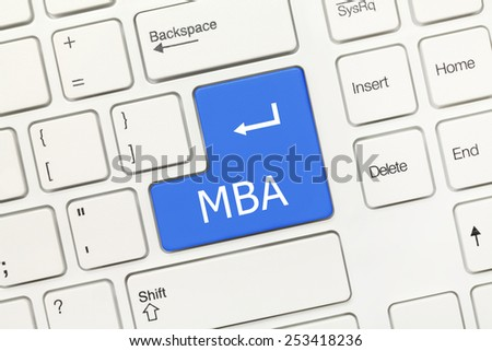 Close-up view on white conceptual keyboard - MBA (blue key) - stock photo