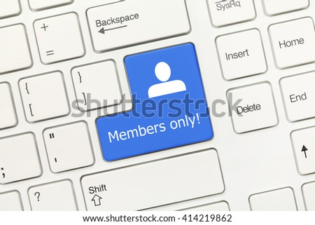 Close-up view on white conceptual keyboard - Members only (blue key) - stock photo