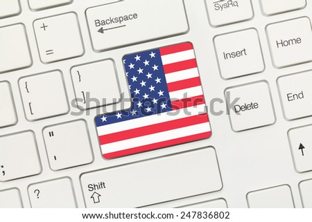 Close-up view on white conceptual keyboard - USA (key with flag) - stock photo