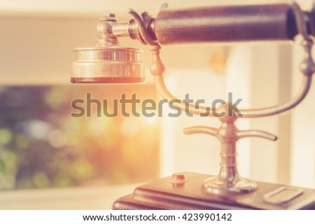Close up vintage old telephone - stock photo